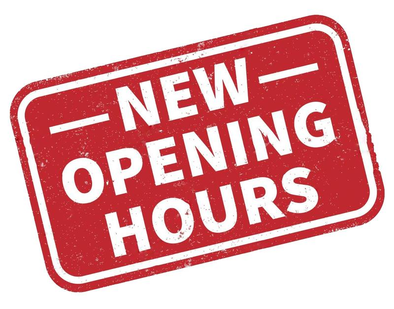 NEW OPENING HOURS from Mon 1st June